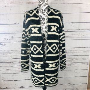 Roxy Patterned Long Open Front Cardigan Sweater M